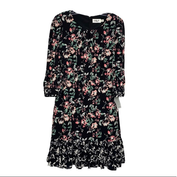 Eliza J Dress NWT Sz 10 Black Green Pink Floral